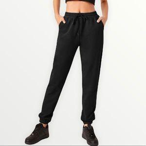 SHEIN Basics Black Drawstring Waist Sweatpants!